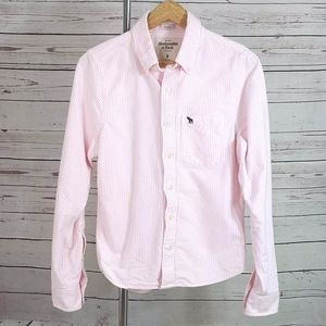 Abercrombie Muscle pink striped button down shirt